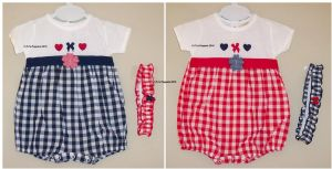 BABY GIRLS GINGHAM BUBBLE ROMPER HEADBAND 2 PIECE SET NEWBORN 0 3